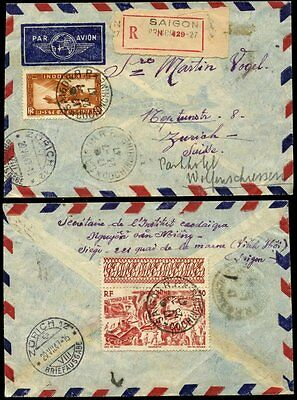 FRENCH INDOCHINA 1947 REGISTERED AIRMAIL to SWITZERLAND + REDIRECTED