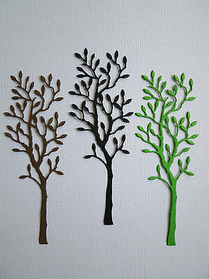Tree Paper Die Cuts x 8 Scrapbooking Card Topper Embellishment - NOT a DIE