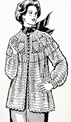 Reproduction 632 Vintage Design PINEAPPLE JACKET Pattern to Crochet SZ 12-18
