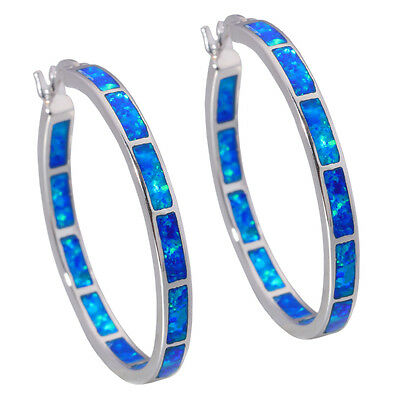 "Luxury Blue Fire Opal Women Jewelry Gemstone Silver Hoop Earrings 1 3/8"" OH2515"