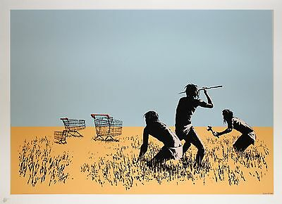 trolley hunters banksy print painting art canvas or satin photo poster africa