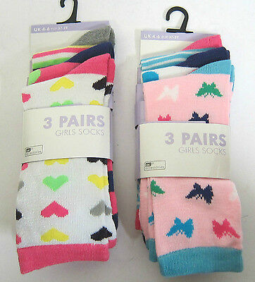 £1.99 Girls Rjm Heart Butterfly Print 3 Pairs Ankle Socks Sk334