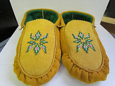 Native American Beaded Moccasins With Spectacular 8 Inches Green Insole