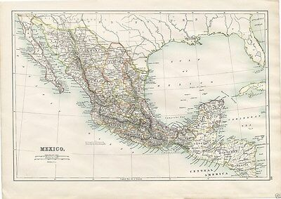 Antique 1898 Map of MEXICO, Central America by A & C Black General Atlas
