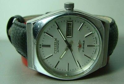 VINTAGE CITIZEN AUTOMATIC DAY DATE STEEL MENS 842560 WATCH Y72 OLD ANTIQUE