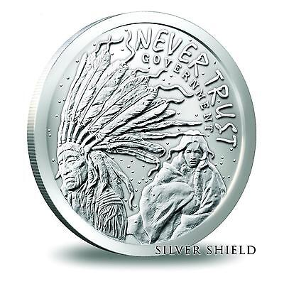 2014 Silver Shield Never Trust Government 1 oz .999 Silver BU Round USA Coin