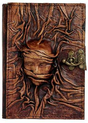Embossed Scarfed Woman Refillable Leather Journal / Diary / Brown Notebook