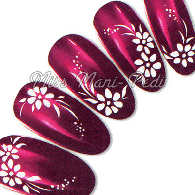 Nail Stickers, Water Decals, Transfers, White Flowers Dots Wedding Bridal Y008
