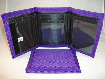 Kids Solid Color Tri-Fold Nylon Wallet - Purple