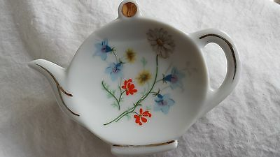 Vtg LEFTON CHINA Teapot shaped Teaspoon Caddy #03317 Hand Painted Porcelan (VGC)