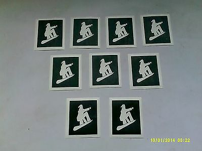 10 - 400 Santa on snowboard stencils for etching on glass hobby present