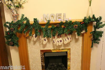2Mx25CM FIREPLACE CHRISTMAS GARLAND MANTEL CONES PINE TREE BERRIES DECORATIONS