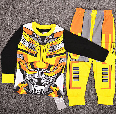 1-6 Transformer Bumblebee Boys Toddler Kids Pyjamas Pajamas T-shirt Costume Set