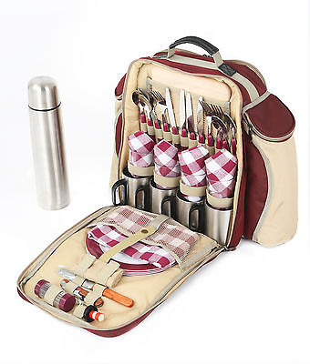 Super Deluxe Red Picnic Backpack for 4 People, Picnic Rucksack, Picnic Bag