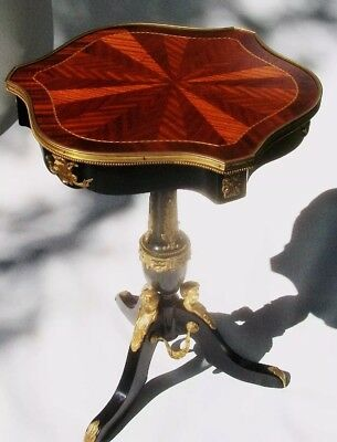 1785 Parquetry Ebonized French Empire Directoire Antique Side Table Tea Table