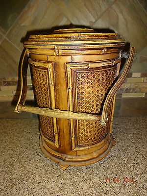"Vintage Owens Corning plastic faux wood ice bucket with Handle 11"" Tall"