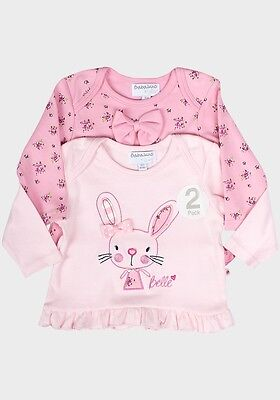 Lovely Girls 2 Piece Babaluno Pink Cotton Tops Tshirt Twin Set Size 0 3 6 9 12