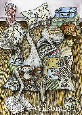 A few of my favourite things -  Greyhound  DOG -  Art Print