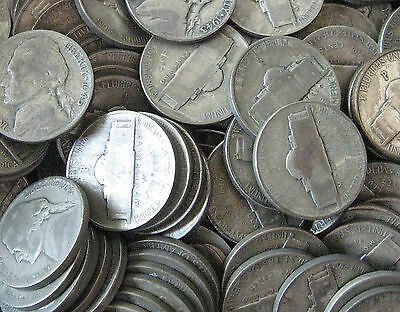 40 Coin Roll Lot Of 35% Silver $2 FV USA Made WWII Jefferson War Nickels