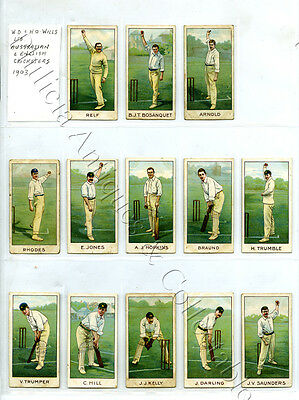 1903 Will's Cigarette Cards Aust/eng Trumble/bosanquet/trumper/hill/darling A33
