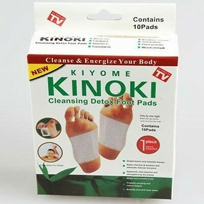 10 PCS (1 BOX ) KINOKI Detox Foot Pads Patches w/ Adhesive - US SELLER