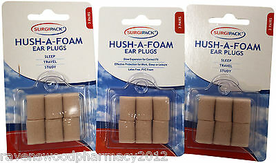 3 x Surgi Pack SurgiPack Hush-A-Foam Ear Plugs 3 Pairs ::Sleep Travel Study::