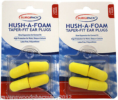 2 x Surgi Pack SurgiPack Hush-A-Foam Taper Fit Ear Plugs 2 Pairs LARGE SIZE