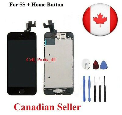 New Black LCD Lens Touch Screen Display Digitizer For iPhone 5S With Home Button