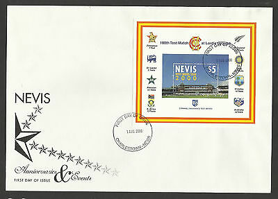 NEVIS 2000 LORD'S CRICKET 100th CENTENARY TEST MATCH Souv Sheet FDC