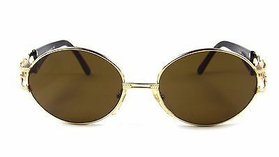 Roberto Capucci 859 Large Oval Gold Blond Black Metal Sunglasses 90s Italy NOS