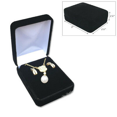 <Lux> Metal Black Velvet Long Earring Box Necklace Jewelry Presentation Gift Box