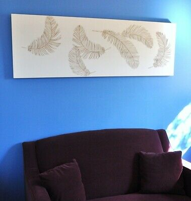 """feathers In Flight""-Wall Art Panel-White-Wood Carving On Timber-Large Single"