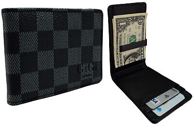 Money Clip Wallet Black Grey Faux Leather Cash Card Holder Clutch 902V