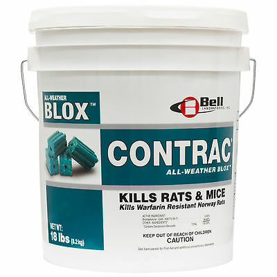 Contrac Blox Rodenticide 18 lbs Rat Mouse Bait Blocks Rodent Killer NOT FOR : CA