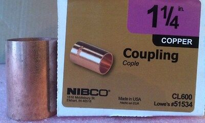 "NIBCO 1 1/4 inch Copper Coupling w/o Stop - NEW - 1-1/4"" Plumbing Fitting"
