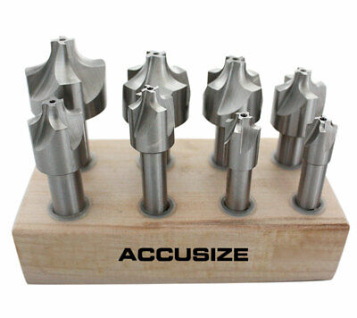 "HSS Corner Rounding End Mill Set 8 Pcs/Set Size from 1/16"" to 3/8"", #1011-0008"
