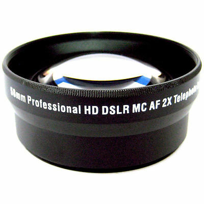 Professional 52mm HD 2x Telephoto Lens for Canon and Nikon Lenses + Free Pouch