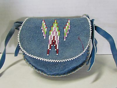 Native American Leather Purse Bag Blue Tanned Hide Hand Made Intricate Beading