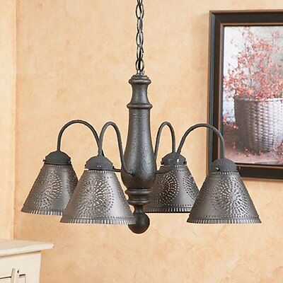 WOOD & PUNCHED TIN CHANDELIER Primitive Colonial Ceiling Light Shade Distressed
