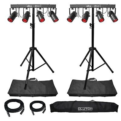 Chauvet DJ 4Play LED Moonflower Party Stage Lighting System Pair + Cases