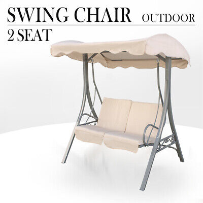 Outdoor Swing Chair 2 Seat Canopy Hanging Chair Garden Bench Steel Frame Cushion