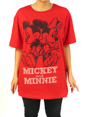 Disney Mickey & Minnie Mouse Red Sketch Graphic Print T-Shirt Plus Size Top 1X