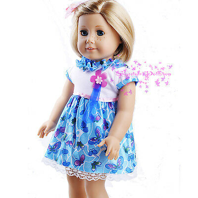 """Cute White&Blue Patterned Dress 18"""" fits 18"""" American Girl Doll Accessories Sel"""