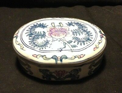 VINTAGE CHINESE HAND PAINTED COVERED TRINKET  DISH PORCELAIN FLORAL