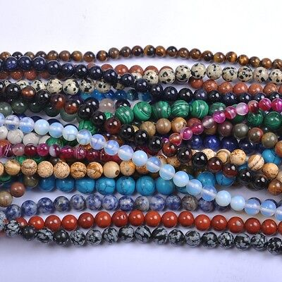 Natural Gemstone Round Charms Spacer Loose Beads 4MM 6MM 8MM 10MM 12MM Wholesale