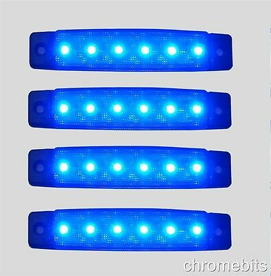 4 x 12V 12 VOLT LED BLUE SIDE FRONT MARKER LIGHT TRAILER VAN BUS DECORATION