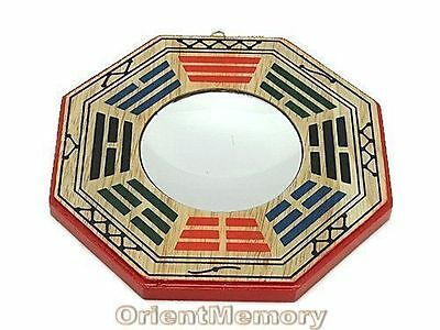 4 Inch Peach Wood Early Heaven Bagua with Concave Mirror - Feng Shui Energy Cure