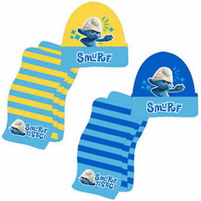 THE SMURFS  2 Piece Set - Hat & Scarf + free Gloves - for ages approx 2-6 years