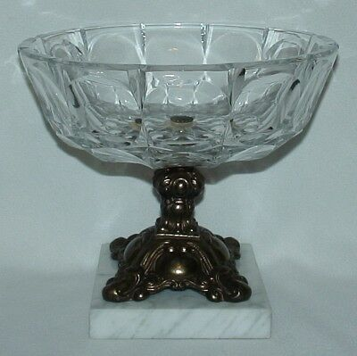 "THICK CUT GLASS FRUIT BOWL ON BAROQUE BRASS PEDESTAL WITH MARBLE BASE 7""X8"""