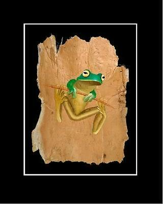 WHITE LIPPED GREEN TREE FROG  PRINT -- SIGNED BY ARTIST --Unique Australiana Art